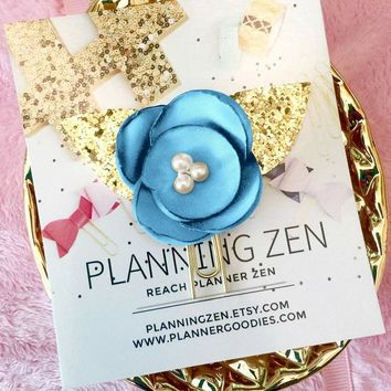Cerulean Chiffon Poppy with Gold Glitter Leaves Flower Planner Clip