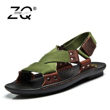 ZOQI Summer Beach Shoes Men Sandals 2017 Designers Sandals Men Brand Leather Slippers
