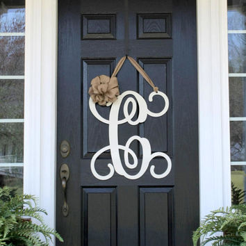 Monogram Door Wreath w/ ribbon, Front Door Wreaths, Monogram Door Hanger, Monogrammed Wreath, Front Door Letters, Outdoor Wreath, Door Decor