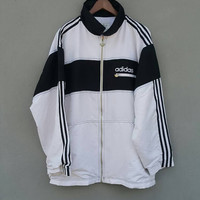 Black and white 3 stripes ADIDAS equipment spell out run dmc big logo nylon front zippered jacket training running nylon size XL