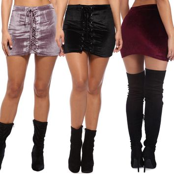 Direct Selling Top Acetate Solid Empire Bud Saia Longa Skirts Womens Sexy Velvet Miniskirt Double Bandage Skirt Nightclub
