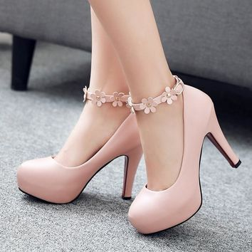 2017 Sexy Platform Pumps Fashion Ankle-Strap Stilettos Sweet Flower Princess High-Heeled Platform Shoes Women Pink Wedding Shoes