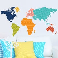 Creative Home Decor Plane Wall Stickers Colorful Modern World Map Pattern For Office Room TV Wall 60*90 CM Mural Art Wall Decals
