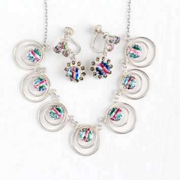 Vintage Art Deco 835 Silver Iris Glass Necklace & Screw Back Earring Set - 1930s Rainbow Glass White Green Pink Blue Stone Jewelry Parure