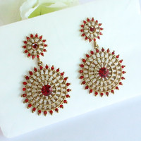 Bridal Red Earrings/Antique Red Bridesmaid Earrings/Wedding Earring/Gold Crystal
