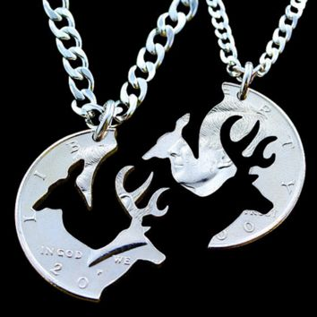 Couples Doe and Buck Interlocking Half Dollar Pendant Necklaces Set