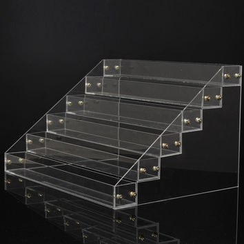 6 Tiers 66 Bottles Clear Acrylic Nail Polish Cosmetic Varnish Display Stand Rack Organizer