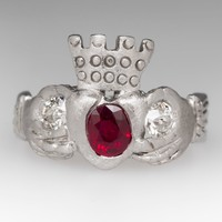 Old Diamond & Ruby Vintage Claddagh Ring in Platinum