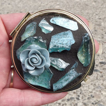 Blue Rose Mosaic Make Up Mirror