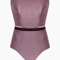 Strapless One Piece Swimsuit - Tricolor Lilac/Purple/Gold