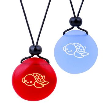 Frosted Sea Glass Stones Adorable Lucky Baby Turtle Love Couples BFF Set Amulets Sky Blue Red Necklaces