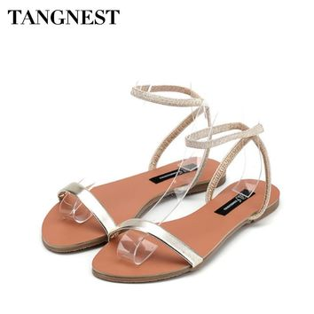 Tangnest Women Sandals Rubber String Slip On Summer Casual Women Gladiators Comfortable Flat With Female Flats