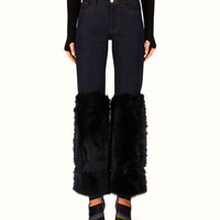 FENDI | DENIM PANTS slim five pocket with fur insert