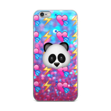Panda Lightning Bolt Heart & Arrow Emoji Collage Teen Cute Girly Girls Yellow Pink & Sky Blue iPhone 4 4s 5 5s 5C 6 6s 6 Plus 6s Plus 7 & 7 Plus Case