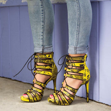 Shiny yellow snakeskin lace up cut-out sandals high-cut open toe strappy pumps ankle sandal booties for summer free shipping