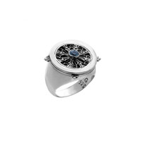 Dharmachakra Sterling Silver & Blue Topaz Noble Truth Ring