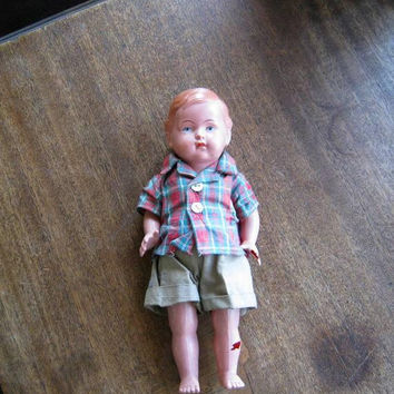 "Rare Antique Celluloid Boy Doll with Plaid Camp Shirt & Khaki Shorts; Large/10"" Flawed 1930s-1950s Jointed Doll"