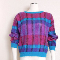 Vintage 80s Striped Women's Sweater - Bright Colorful Purple, Turquoise, and Magenta Fuzzy Mohair Blend Jumper - Size Medium