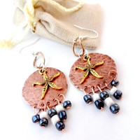 #SALE Mixed Metal Earrings, Copper Chandelier Earrings, Starfish Earrings, Nautical Jewelry