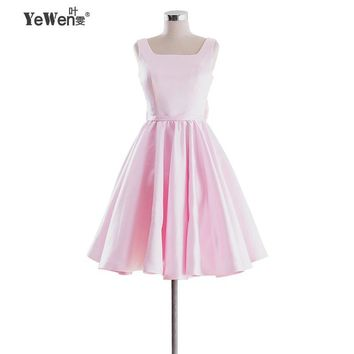 Yewen Red pink Ivory Bow Backless Knee-Length Womens Cocktail Dresses Summer style Vintage Casual Party Rockabilly Dress