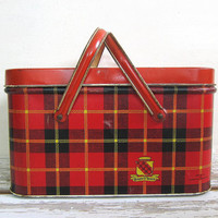 Vintage Metal Red Plaid Picnic Basket Made By Queen O Scots / farmhouse picnic basket