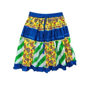 Mogul Womens Boho Chic Skirts Blue Yellow Patchwork Bohemian Cotton Mini Skirts - Walmart.com