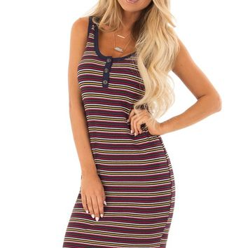Comfy Multicolor Striped Ribbed Dress with Button Detail