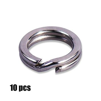 10pcs 3, 3.5, 4, 4.5, 5, 5.5, 6,7,7.5 mm Stainless Steel Heavy Duty Split Rings Terminal Tackle