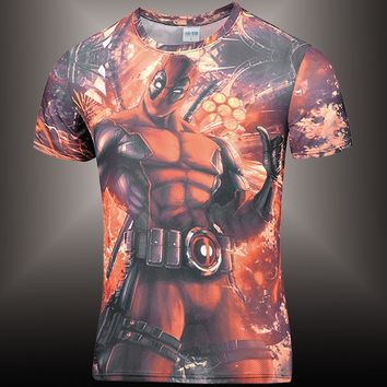 Funny Mens Short Sleeve Tee Shirt Deadpool Comic Badass T Shirt For Men Cartoon 3d Printed T-Shirts Fitness Print tshirt Brand