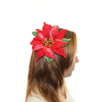 FLOWER Christmas Poinsettia / Hair Clip and Pin / Red Pin hand felted wool brooch green and red, ready to ship / Gift under 25 USD