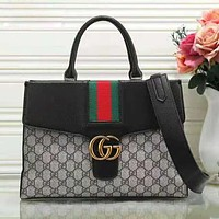 GUCCI New fashion stripe more letter contrast color shoulder bag handbag crossbody bag women Black