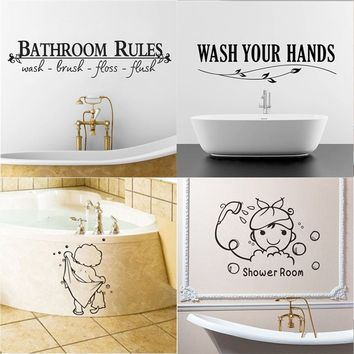 Bathroom Funny Removable Black Art Stickers For Tiles Glasses Wall Decal Home Decor