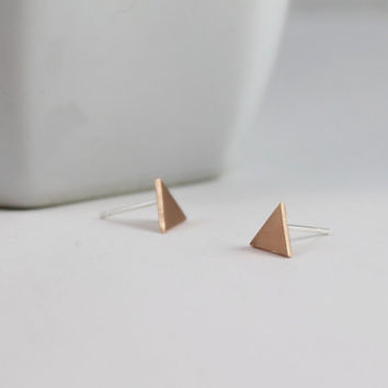 Triangle studs /\ Tiny Geometric Triangle Earrings hand crafted from copper and sterling silver
