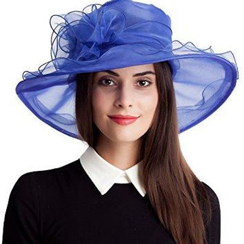 Seven Flowers Kentucky Derby Hat Womens Easter Church Bridal Wedding Party Caps Hats
