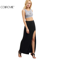 COLROVIE Women Black Split Maxi Skirts  Sexy Summer Style Womens Fitness Casual Long Skirt