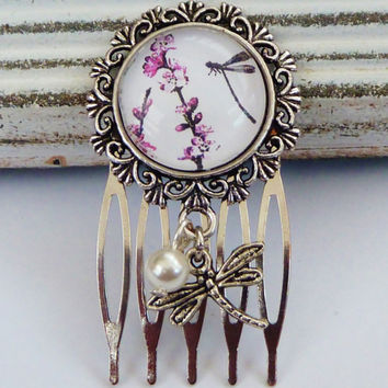 Small hair comb in silver with dragonfly and flowers,  spring hair comb, round hair comb, comb exclusive, LARP Hair Accessories