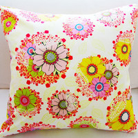 "Fall Winter Flower Pillow 18x18 Decorative Pillow Cover ""Color Me Crazy"" Pillow Collection"