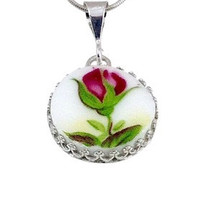 Broken China Jewelry Pendant Necklace Old Country Roses Sterling Silver