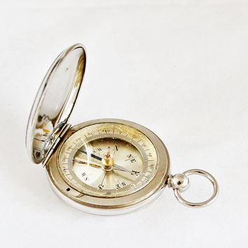 1910s French Pocket Compass / Antique Hunter Compass