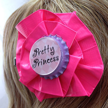 Pretty Princess Pink and Purple Duct Tape Hair Clip by PyrateWench