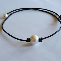The Original Seaside Pearl and Leather Choker, Highest Quality Guaranteed!
