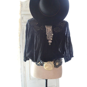 Vintage gauze top, Black Mexicali top, Boho chic clothes, Romantic poets blouse, Spring break, Hippie chic smock top  True rebel clothing L