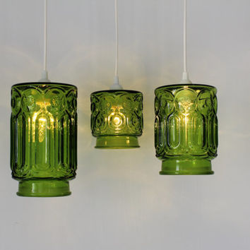 Green Stars and Moons - 3 Upcycled Hanging Pendant Lighting Fixtures made from Vintage Green Glass Kitchen Canisters - OOAK BootsNGus Lamps