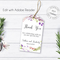 Floral Wreath Thank You Tag, Bohemian Weddign, Printable Wedding Labels, Instant Download, Wedding Printable, Favor Tags, Printable Labels