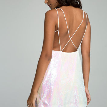 Gigi Dress in Ringgo Pearl Sequin by Motel