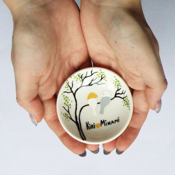 Hand painted Wedding Ring Pillow Alternative , Wedding Ring Dish White and grey birds on branch