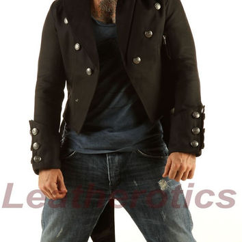 Mens Black Tailcoat Cloak Gothic Steampunk jacket Morning Dress Coat wedding