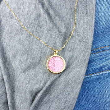 Pink Stone Shaker Necklace
