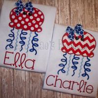 4th of July applique shirt- Fourth of July- Monogram shirt- Jellyfish applique