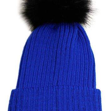 Large Fur Pom Pom Slouchie Knit Beanie Hat - Blue